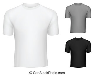 T-shirts. - Blank white, grey and black t-shirts.