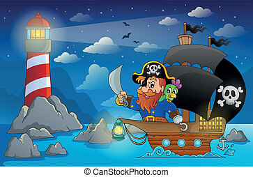 Pirate ship theme image 5 - eps10 vector illustration