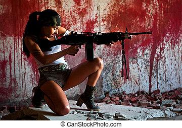 mercenary - Aiming mercenary with light submachine gun on...