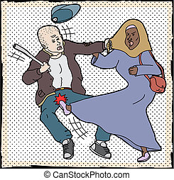 Muslim Woman Self-Defense - Muslim woman kicking man pulling...