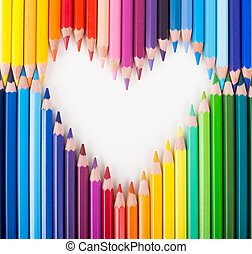 Colour pencils Heart shape