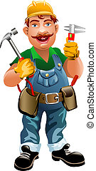 Smiling plumber - Illustration of smiling plumber drawn in...