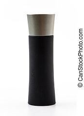 Black bottle perfume isolated white background