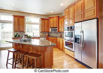 moderno, cocina, habitación, isla