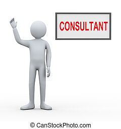 3d man consultant - 3d illustration of person with...