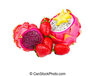 exotic fruits - Dragon Fruit with pitahaya and strawberries