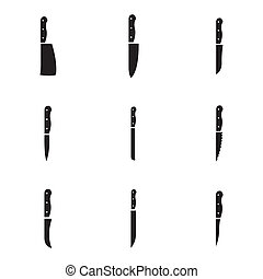 Vector black kitchen knife icons set on white background
