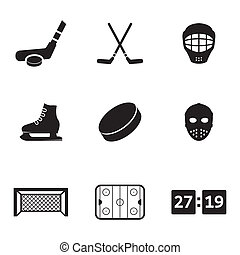 Vector black hockey icons set on white background