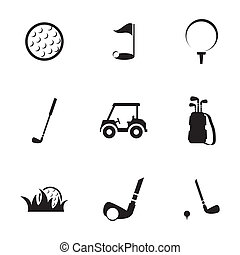 Vector black golf icons set on white background