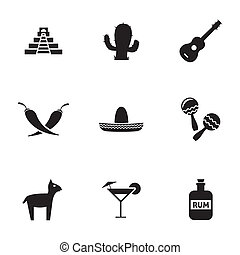 Vector black mexico icons set on white background