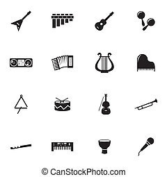 Vector black music instruments icons set on white background