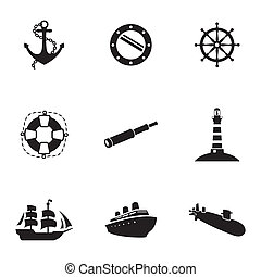 Vector black nautical icons set white background