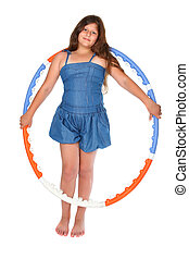 girl with hula hoop - Little girl with hula hoop, on white...