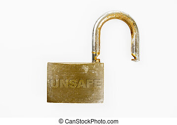 Unsafe Padlock - An unlocked rusted padlock against white...