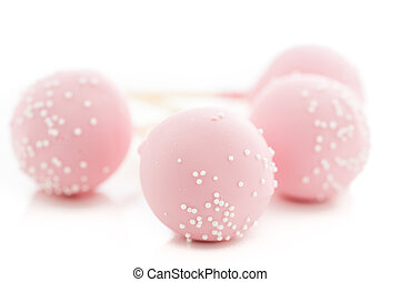 Cake pops - Pink cake pops on a white background