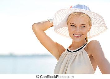 beautiful woman enjoying summer outdoors - fashion,...