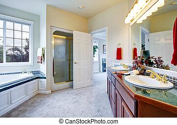 Luxury bathroom with door to master bedroom