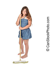 girl with broom - Little girl with broom on white background...