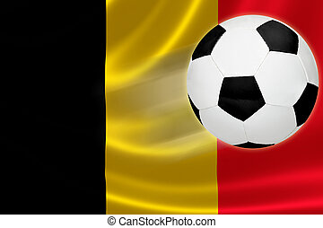 Soccer Ball Streaks Across Belgiums Flag - Ball streaks...