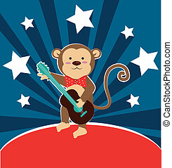 Monkey design over blue background, vector illustration