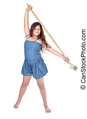 girl with broom - Little girl with broom on white background