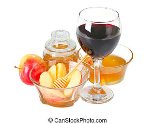Apple and honey with glass of wine