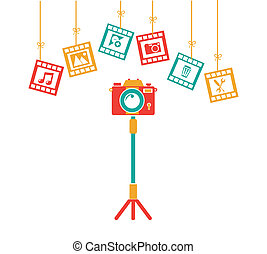 Photography design over white background, vector...