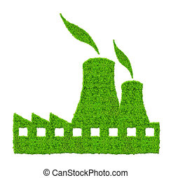 Green Nuclear power plant icon isolated on white