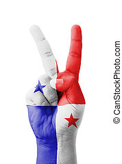 mano, Elaboración, V, señal, Panamá,...
