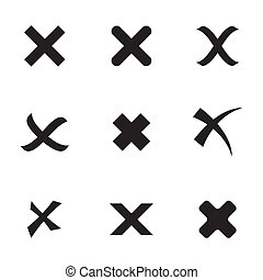 Vector black rejected icons set on white background