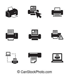 Vector balck printer icons set on white background