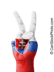 Hand making the V sign, Slovakia flag painted as symbol of...