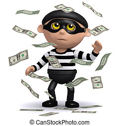 3d Burglar hits the jackpot - 3d render of a burglar in a...