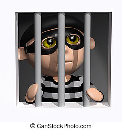 3d Burglar behind bars - 3d render of a burglar behind bars
