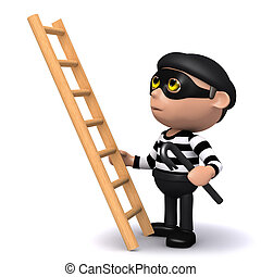 3d Burglar with ladder - 3d render of a burglar about to...