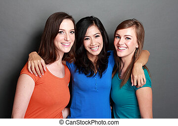 multi racial three girls best friend - portrait of...