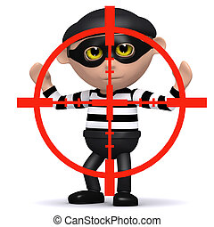 3d Burglar in the crosshairs - 3d render of a burglar being...