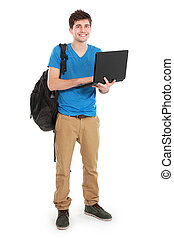 Young male student with laptop - portrait of Young male...