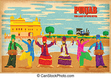 Culture of Punjab - illustration depicting the culture of ,...