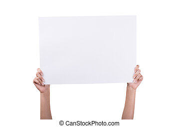 Woman's Hands holding empty white blank board isolated on...