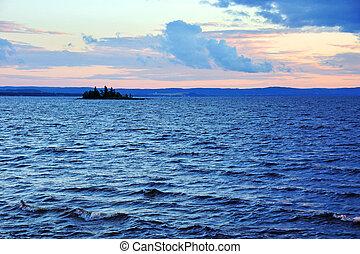 Sunset on big lake - Sunset on large nordic lake,...