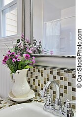 Elegant country bathroom with purpl