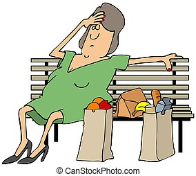 Tired shopper - This illustration depicts a tired woman...