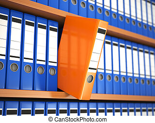 Office file binders on shelf Archive 3d