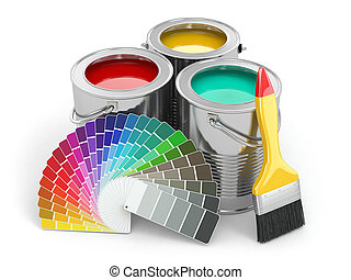 Cans of paint with colour palette and paintbrush 3d