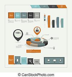 Set of flat infographic elements. Business collection of...