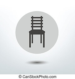 Modern stylized flat icon. Chair shape. Vector sign.