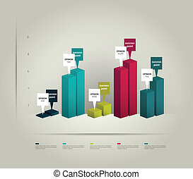 3 D business graph for info graphic.