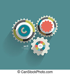 Cog wheel circle flat diagram for info graphic. Trend color...