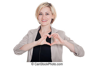 Businesswoman showing love sign